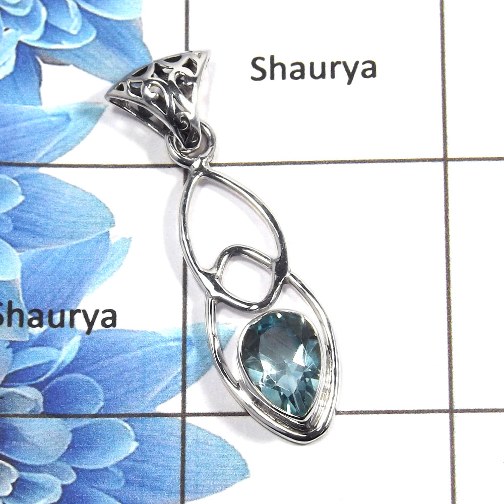 Blue Topaz Cut M - NSP987 - Exclusive Natural Blue Topaz Cut Gemstone Solid 92.5% Sterling Silver Designer Pendant