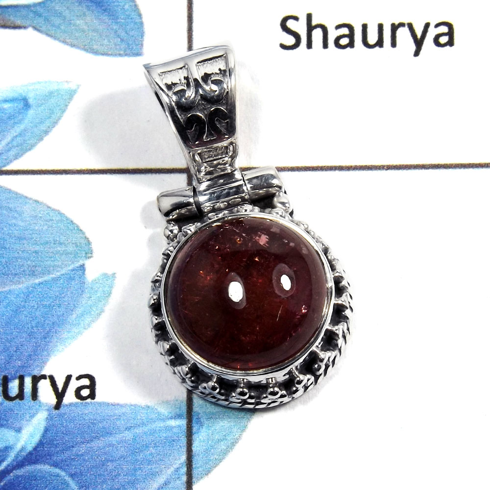 Tourmaline Cab - D NSP989 - Latest Collection Natural Tourmaline Cab Gemstone 925 Sterling Silver Pendant