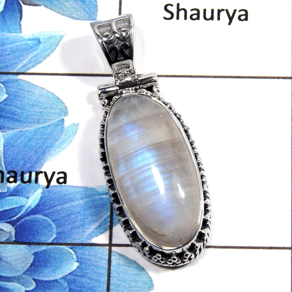 Rainbow Moonstone Cab - L NSP989 - 925 Sterling Silver Natural Blue Fire Rainbow Moonstone Designer Pendant