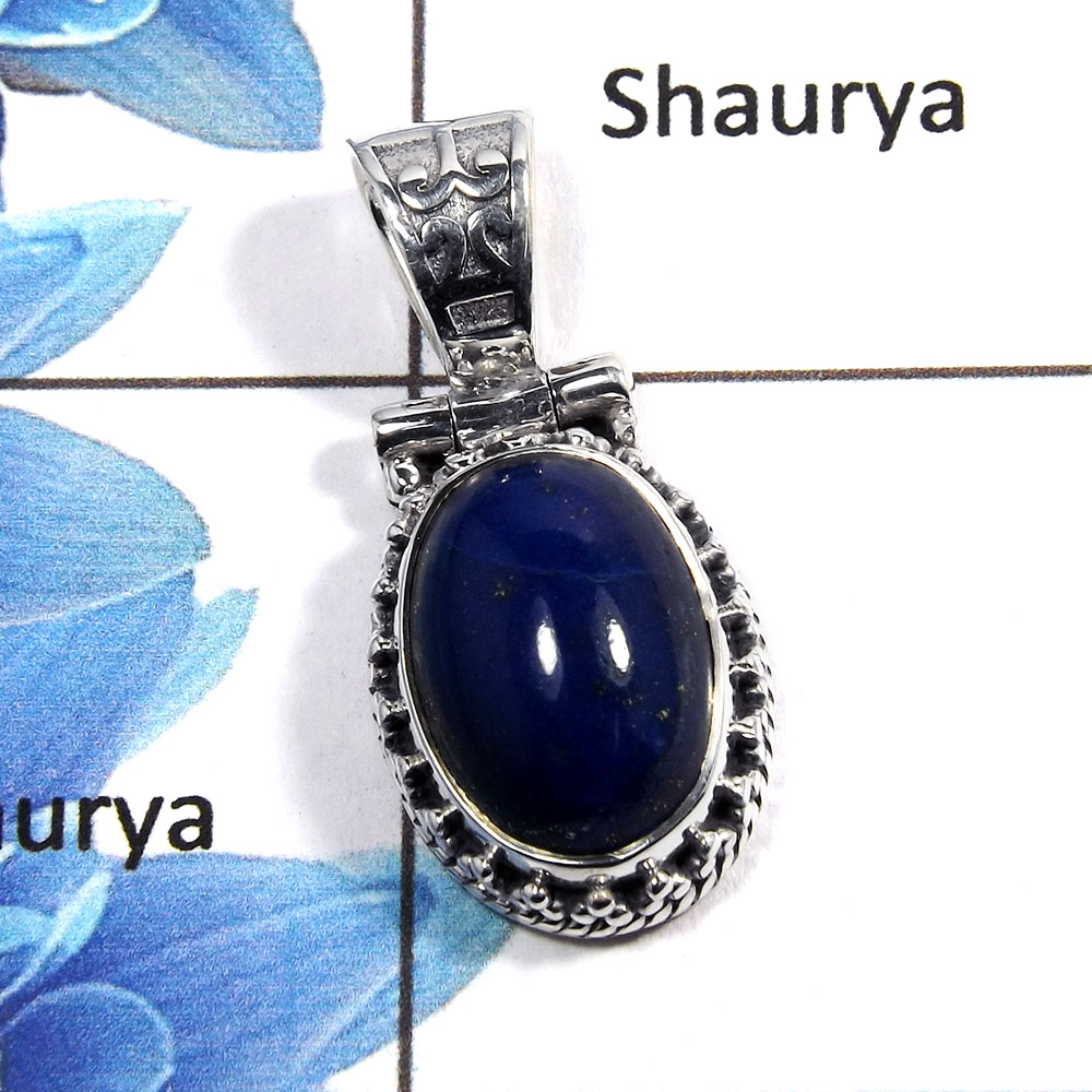 Lapis Cab - O NSP989 - Indian Factory Made Solid 925 Silver Natural Blue Lapis Cab Gemstone Designer Pendant