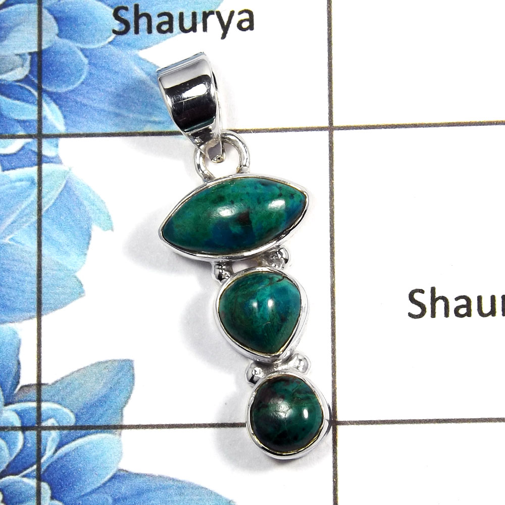 Chrysocolla Cab A - NSP992 - Natural Blue Chrysocolla Cab Gemstone 925 Sterling Silver Plain Setting Pendant