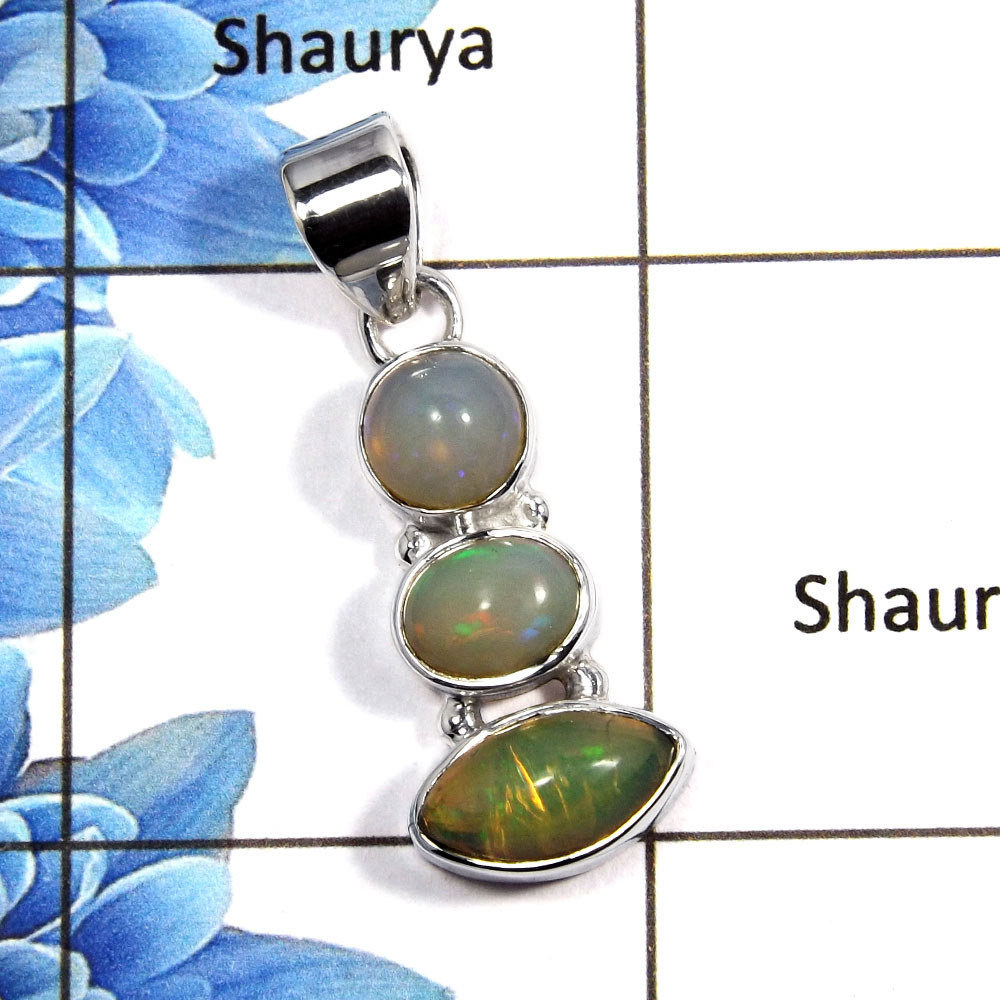 Ethiopian Opal Cab C - NSP992 - Party Look Natural Ethiopian Opal Gemstone 925 Sterling Silver Plain Setting Pendant