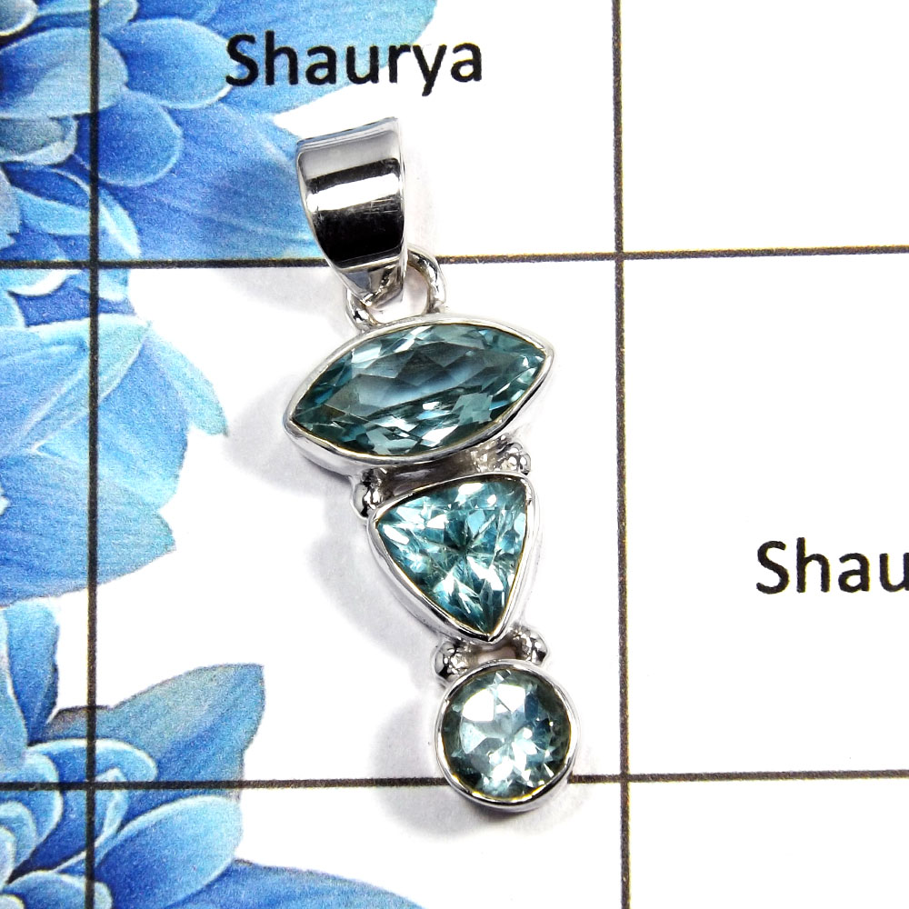 Blue Topaz Cut I - NSP992 - Gorgeous Natural Blue Topaz Cut Gemstone Solid 92.5% Sterling Silver Pendant