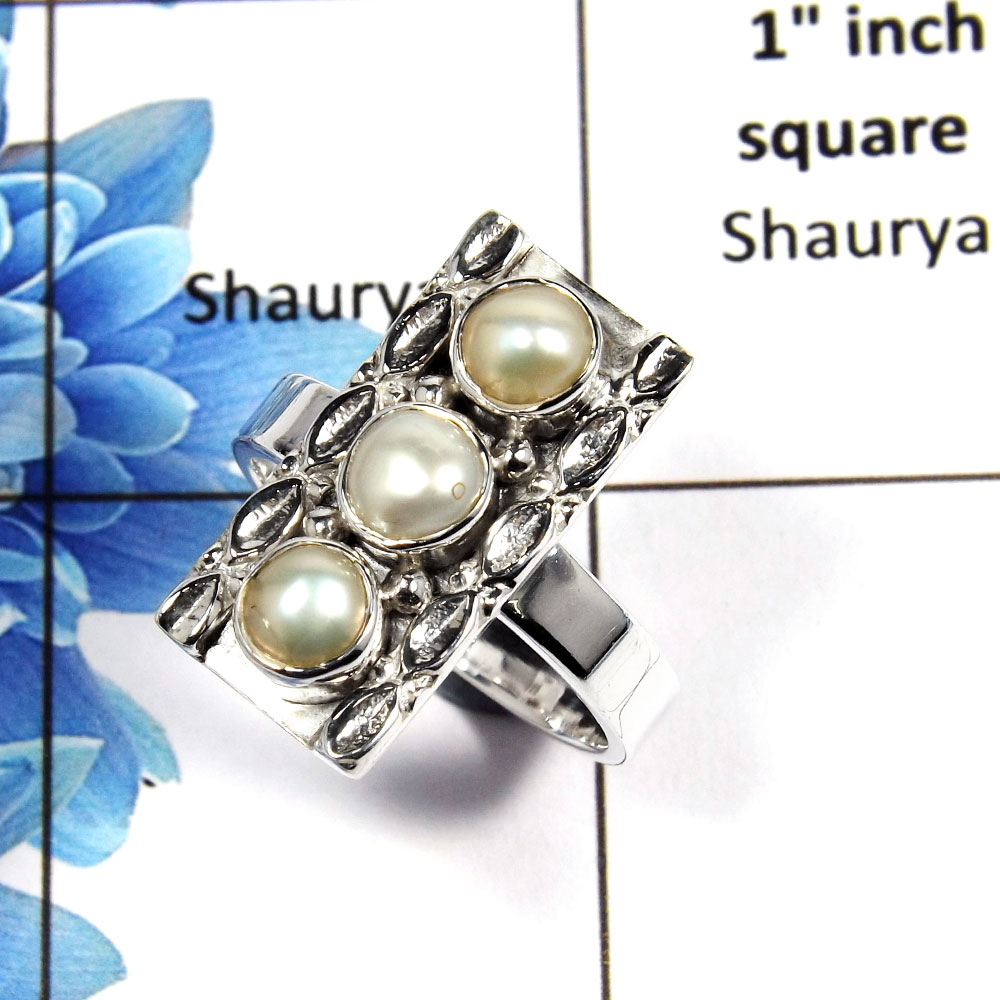 Pearl Cab C - NSR999 - Natural Freshwater Pearl Cab Gemstone Solid 925 Sterling Silver Handmade Ring