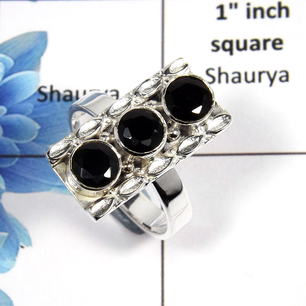Black Onyx Cut N - NSR999 - Stunning Natural Black Onyx Round Cut Gemstone 925 Sterling Silver Designer Ring