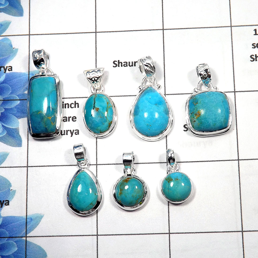 Blue Turquoise Cab - E PWL998 - 100 Gms Blue Turquoise Wholesale Lot Pendant 925 Sterling Silver Approx. 15 To 20 Pcs