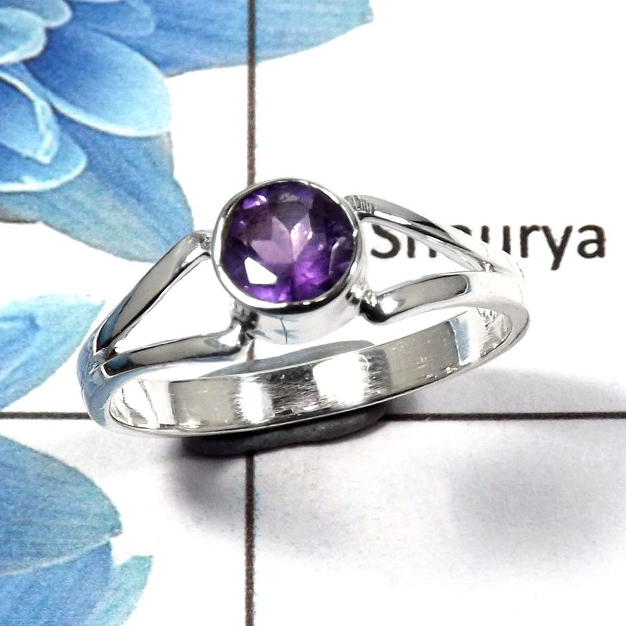 Amethyst Cut B - RBS845 - Solid 925 Sterling Silver Natural Purple Amethyst Cut Gemstone Light Weight Ring