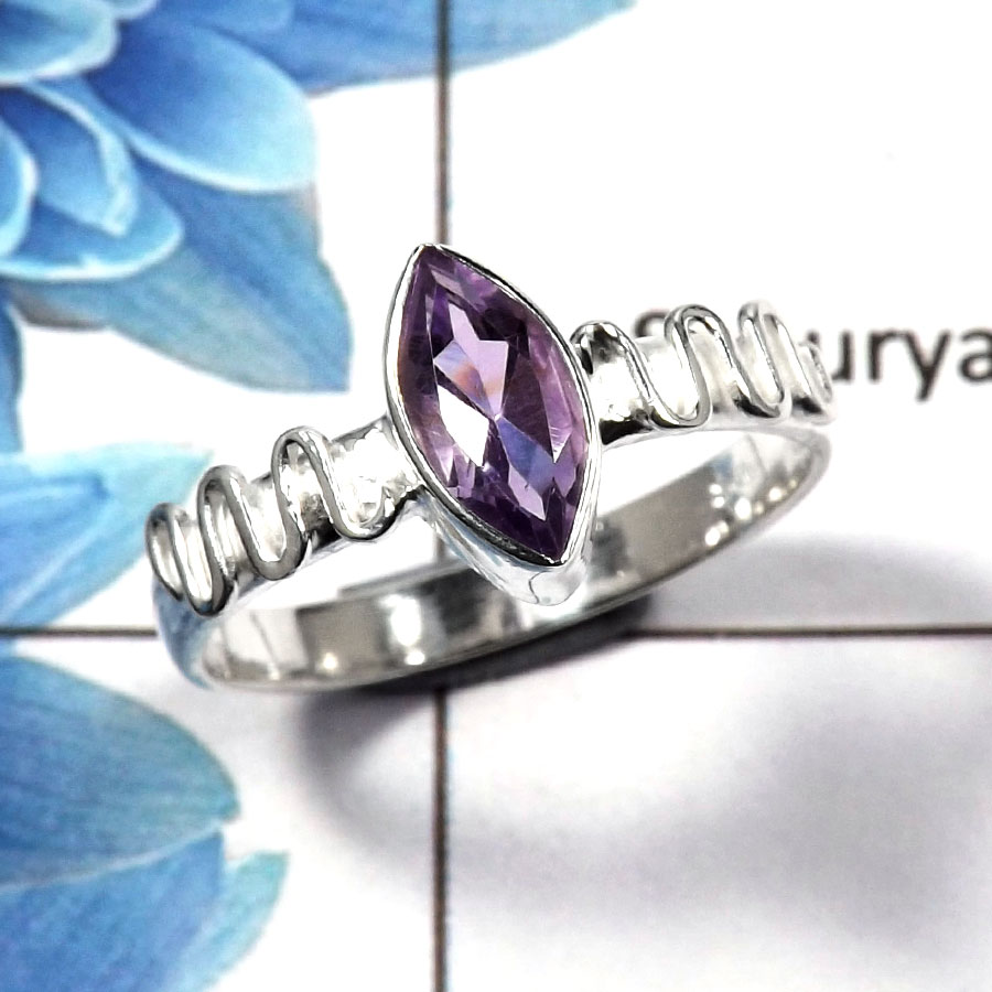 Amethyst Cut D - RBS845 - Party Look Natural Purple Amethyst Marquise Cut Gemstone 925 Sterling Silver Ring