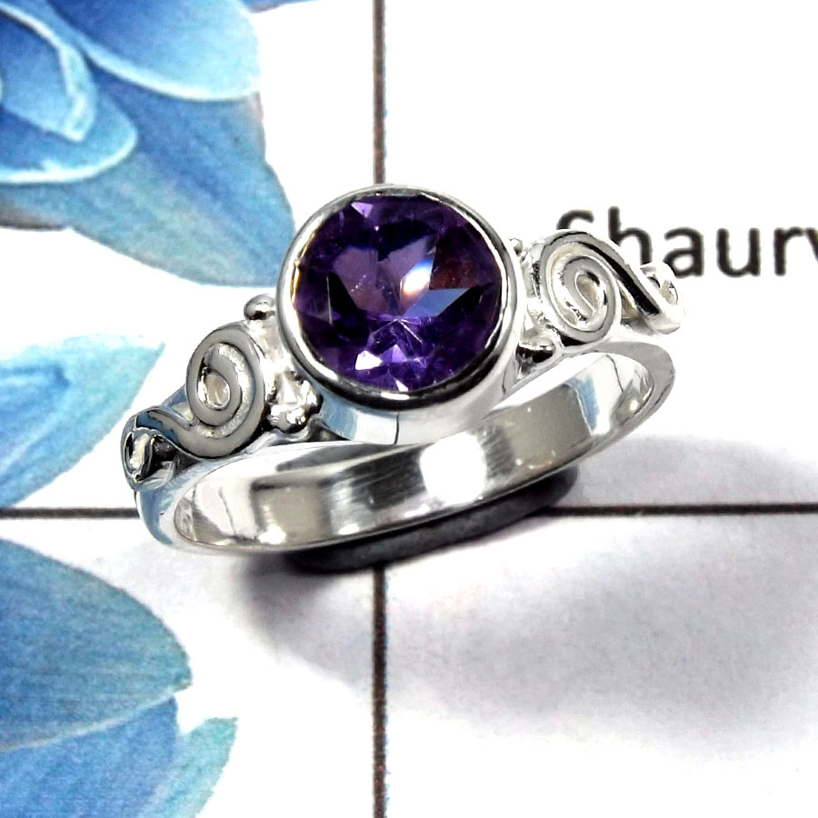 Amethyst Cut E - RBS845 - Indian Factory Made Solid 925 Sterling Silver Natural Purple Amethyst Cut Gemstone Ring