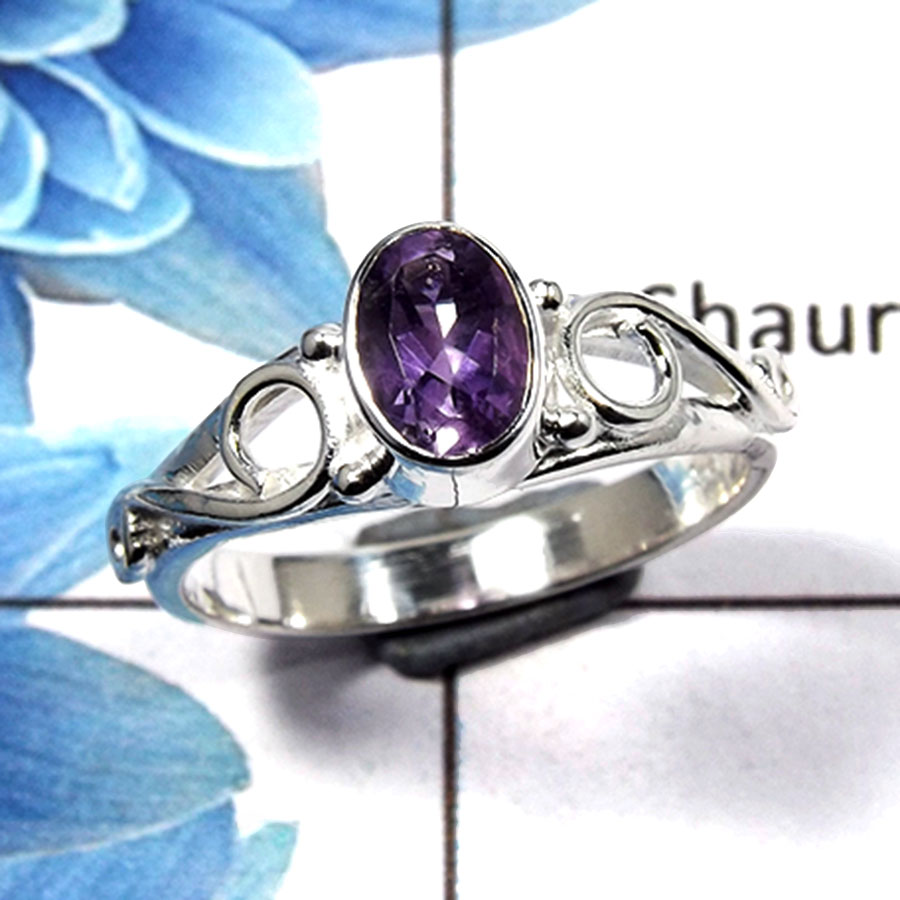 Amethyst Cut H - RBS845 - Gorgeous Natural Amethyst Cut Gemstone 925 Sterling Silver Light Weight Ring