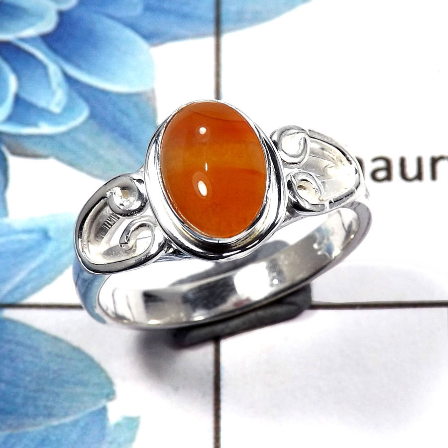 Carnelian Cab B - RBS846 - Solid 925 Sterling Silver Natural Orange Carnelian Cab Gemstone Light Weight Ring
