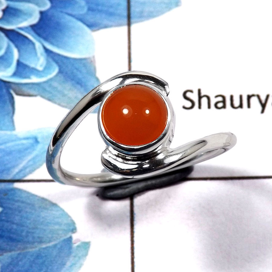 Carnelian Cab C - RBS846 - Indian Company Made Solid 925 Sterling Silver Light Weight Ring