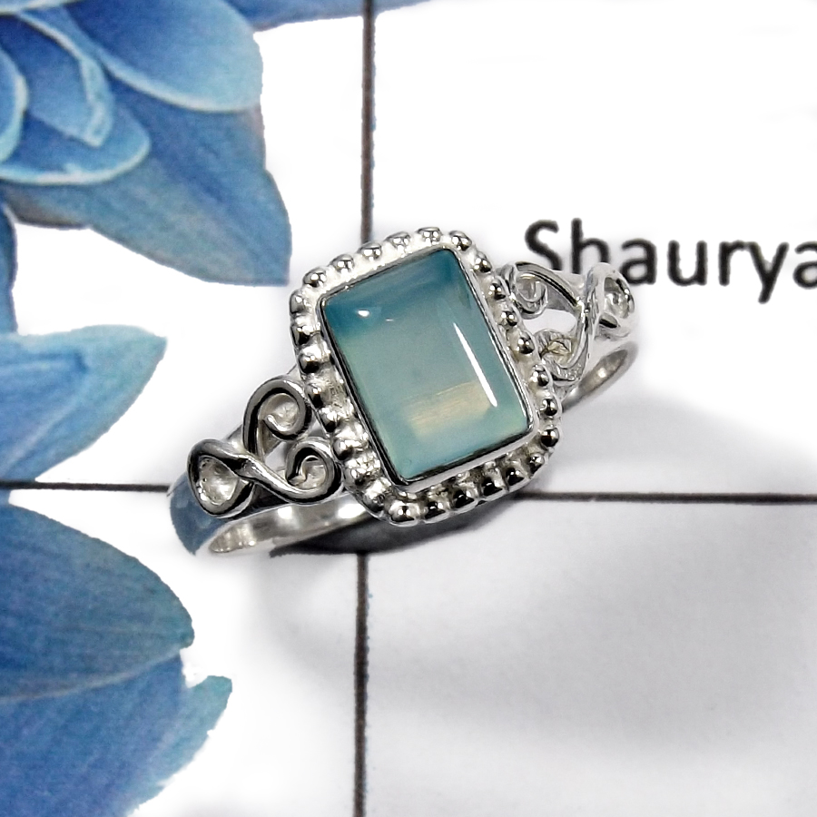Blue Aqua Chalcedony J - RBS847 - Latest Collection Natural Blue Aqua Chalcedony Gemstone  Ring 925 Sterling Silver
