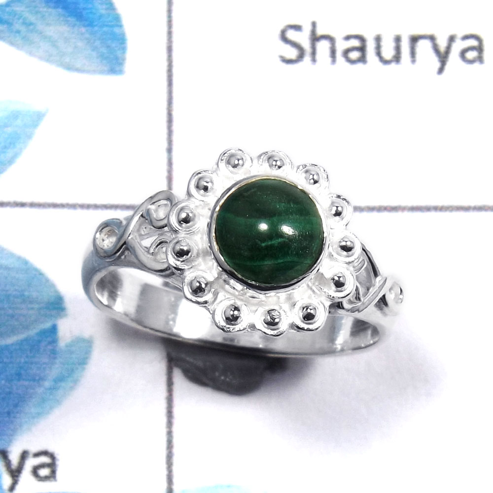 Malachite Cab A - RBS852 - Natural Green Malachite Gemstones 925 Sterling Silver Designer Baby Ring