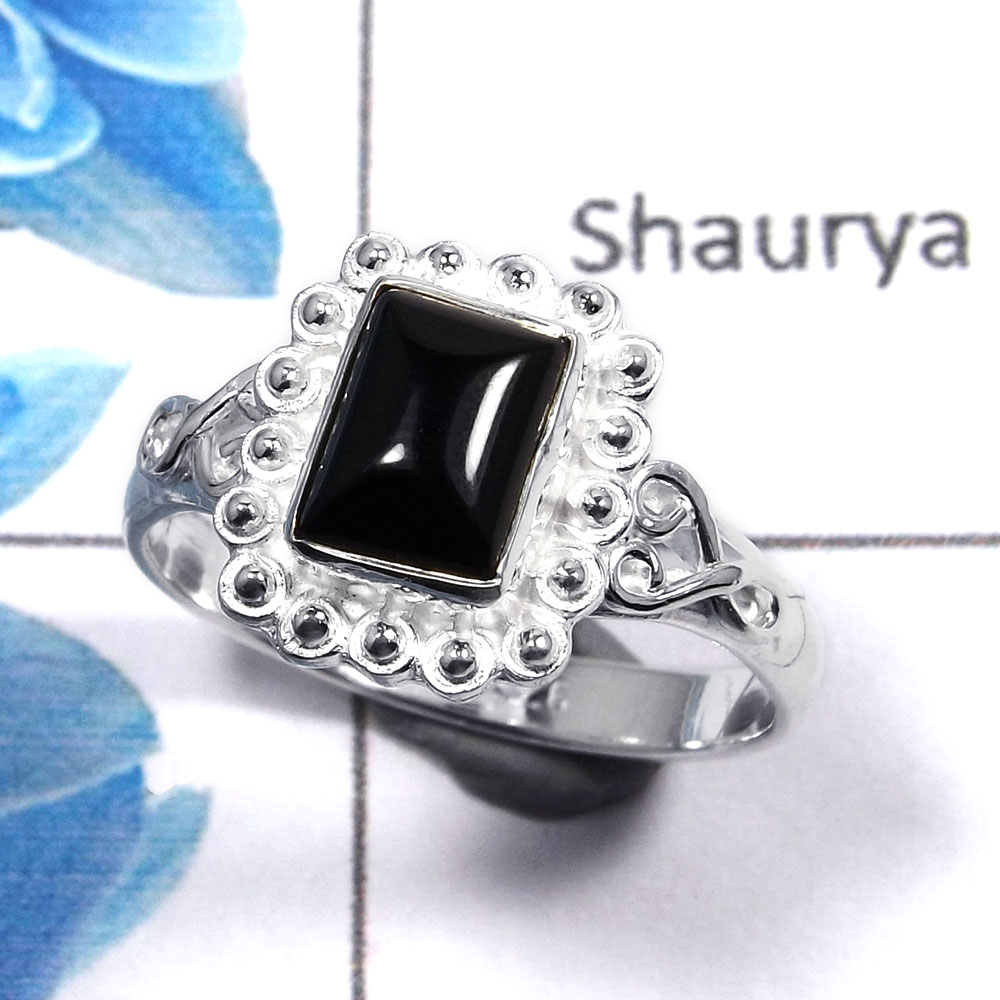 Black Onyx Cab E - RBS852 - Solid 925 Sterling Silver Awesome Natural Black Onyx Gemstone Light Weight Ring