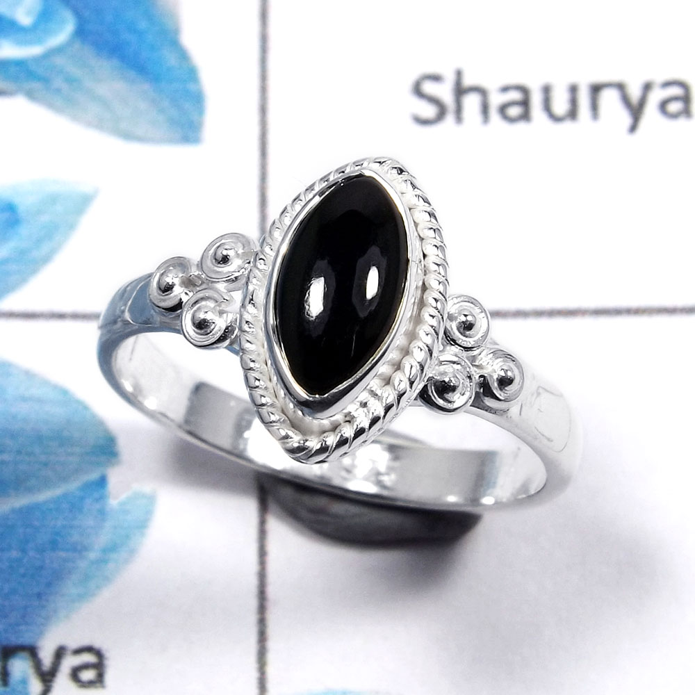 Black Onyx Cab G - RBS852 - Indian Company Made Solid 925 Sterling Silver Designer Tiny Ring