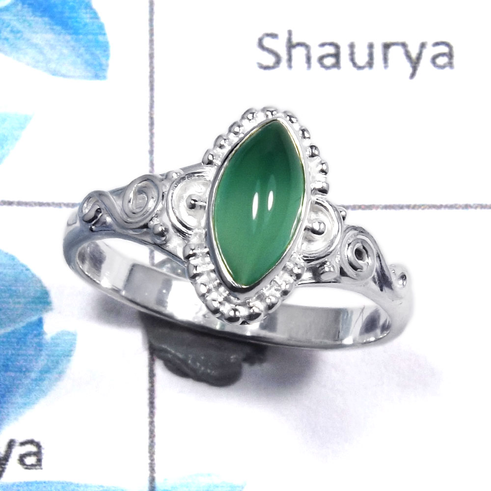 Green Onyx Cab I - RBS852 - Amazing 92.5% Sterling Silver Natural Green Onyx Cab Gemstone Designer Tiny Ring