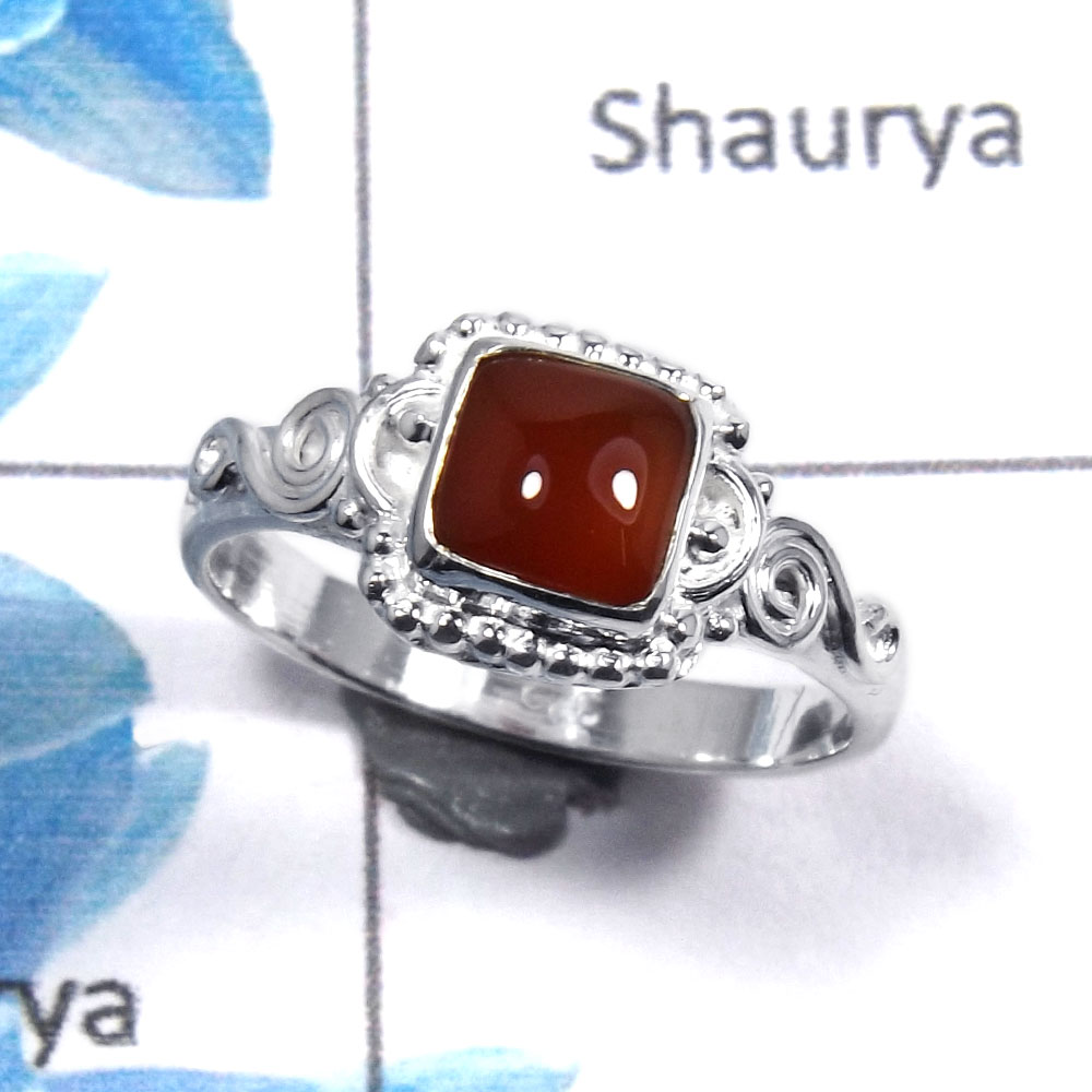 Red Onyx Cab M - RBS852 - Solid 925 Sterling Silver Natural Red Onyx Cab Gemstone Designer Light Weight Ring