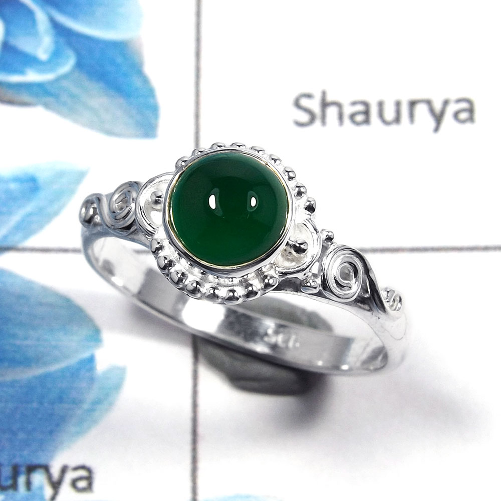 Green Onyx Cab O - RBS852 - Indian Company Made Solid 925 Silver Natural Green Onyx Gemstone Designer Ring