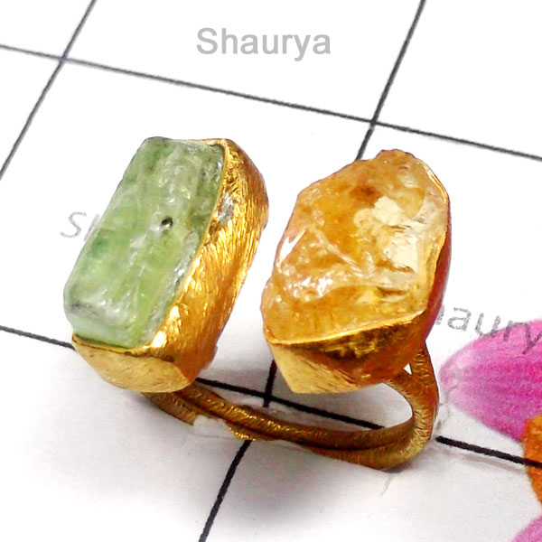 Citrine Rough H - RGP999-Rough Gemstone Silver Gold Plated Ring