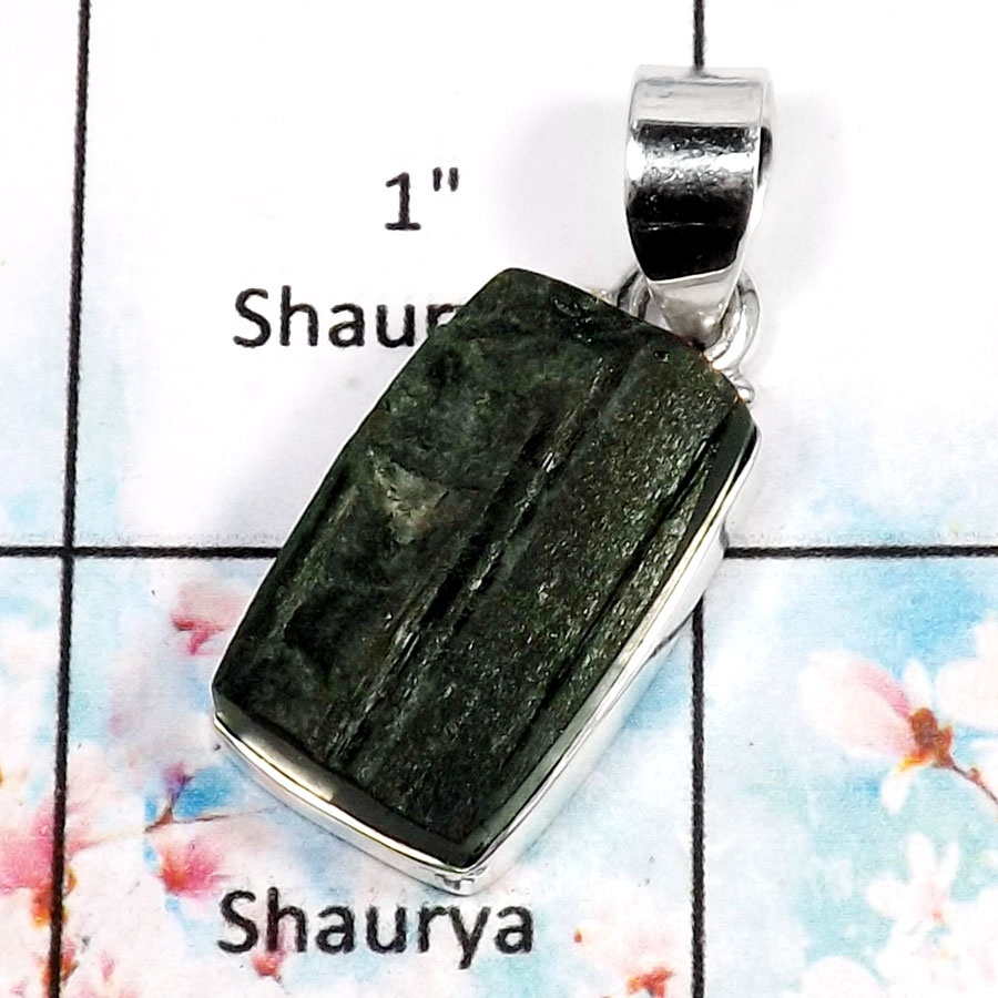 Green Tourmaline-A RPP966-Natural Tourmaline Rough Gemstone Wholesale Pendant 925 Sterling Silver