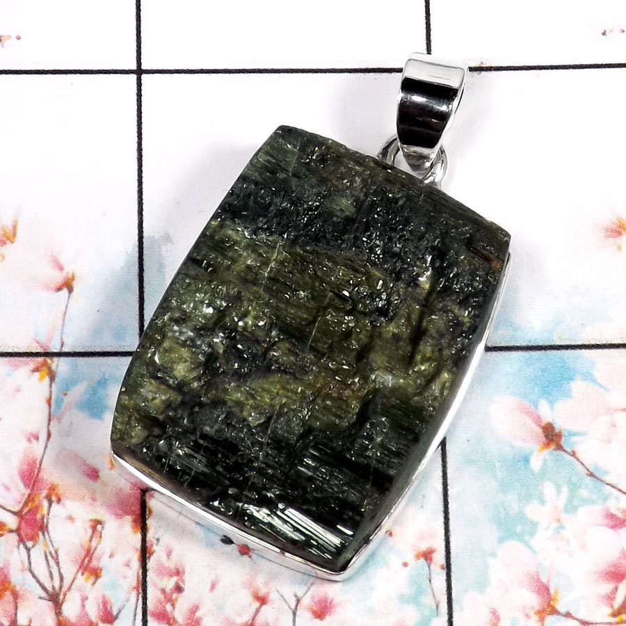 Green Tourmaline-C RPP966-Gorgeous Raw Gemstone Factory Wholesale Handmade Pendant 925 Sterling Silver