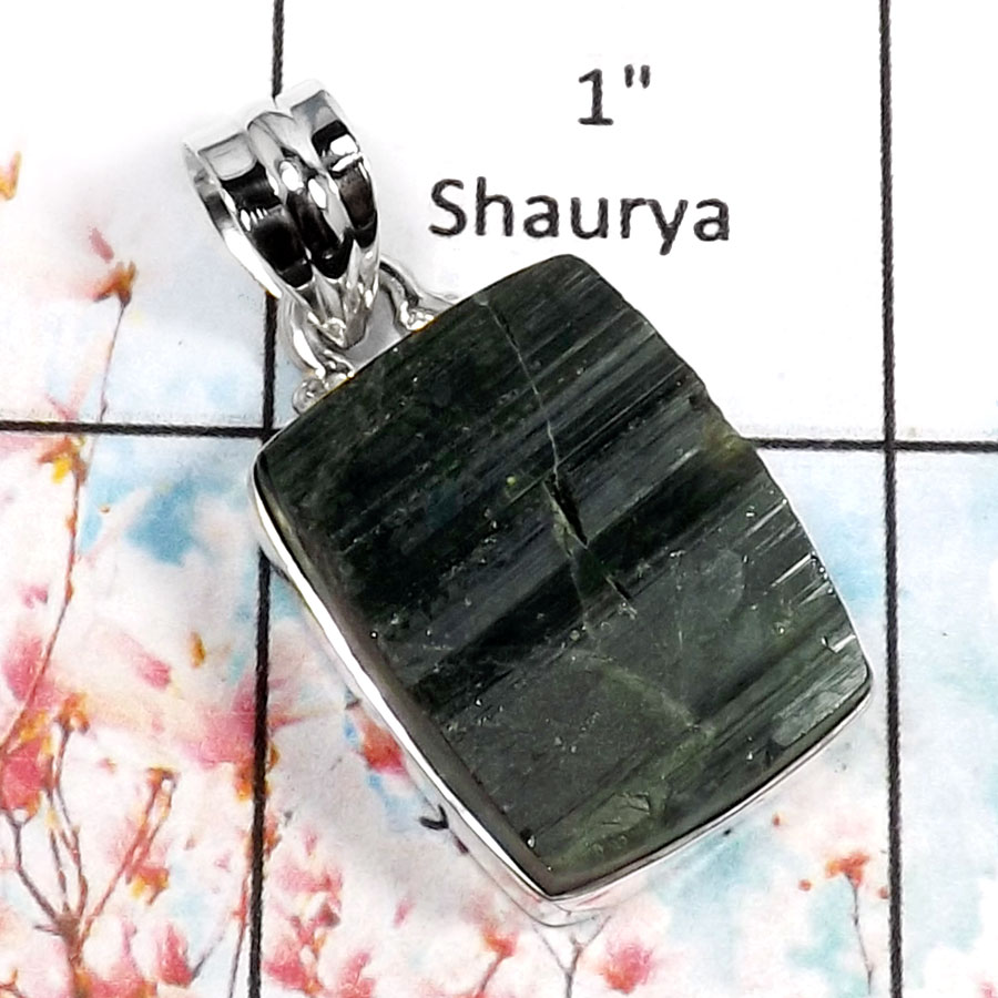 Green Tourmaline-F RPP966-Beautiful Rough Gemstone Handmade Wholesale Pendant 925 Sterling Silver