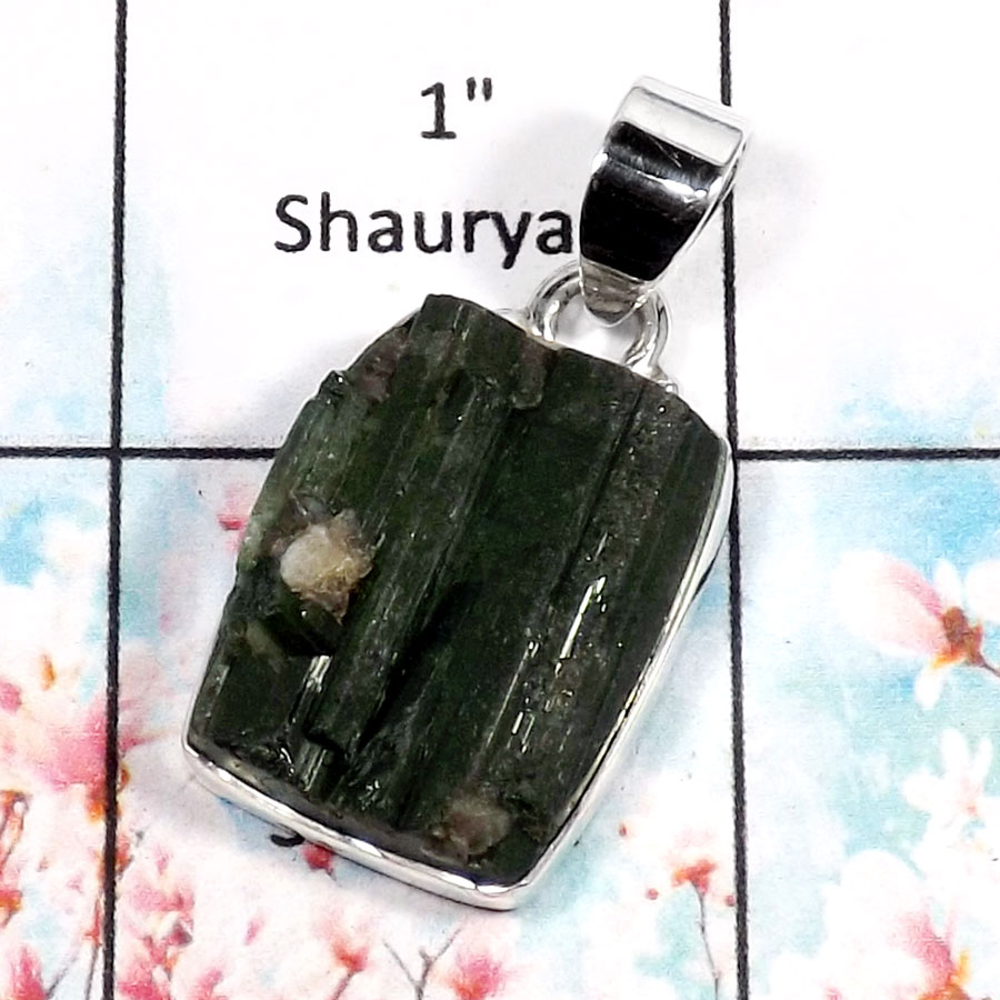 Green Tourmaline-G RPP966-Natural Tourmaline Rough Plain Setting  Pendant 925 Sterling Silver
