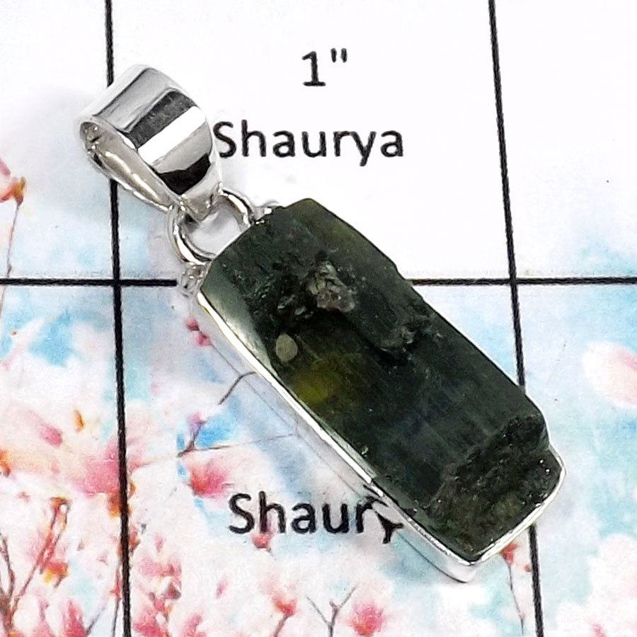 Green Tourmaline-I RPP966-Beautiful Rough Gemstone Handmade Wholesale Pendant 925 Sterling Silver