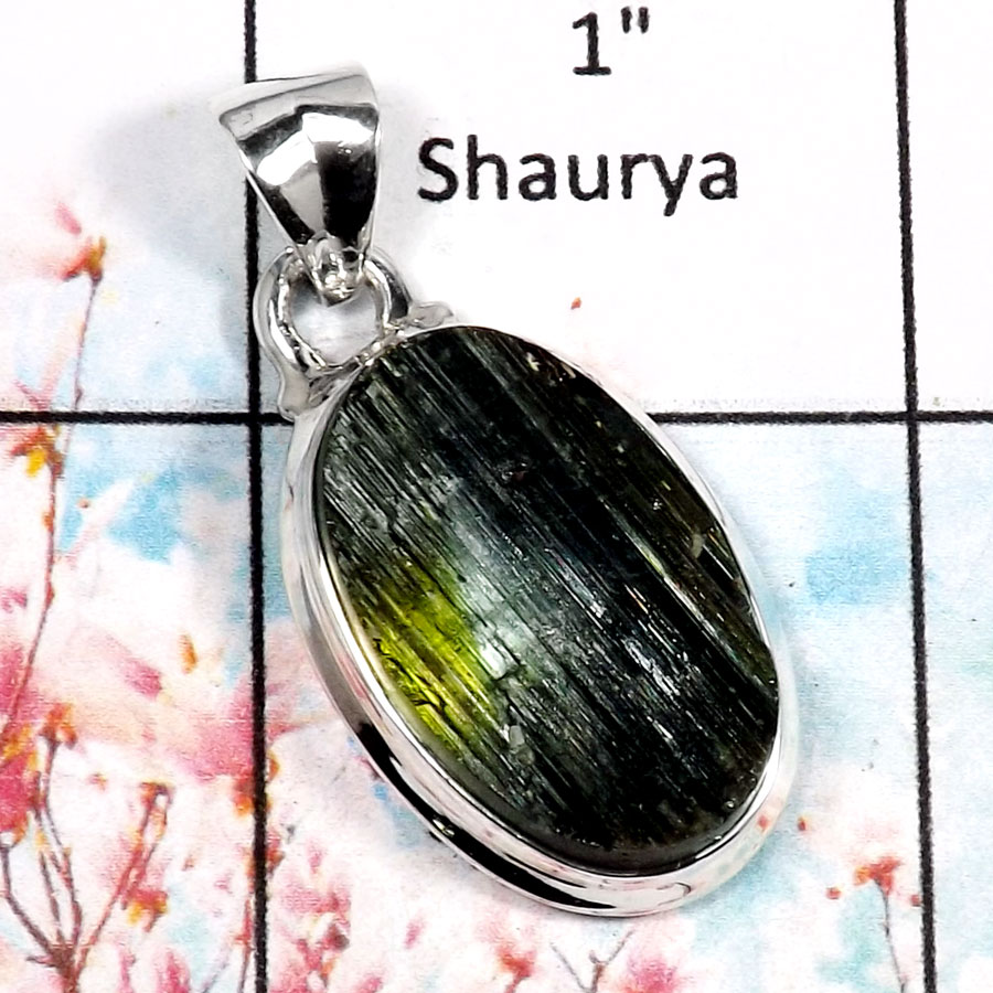 Green Tourmaline-O RPP966-Amazing Rough Gemstone Plain Setting Pendant 925 Sterling Silver
