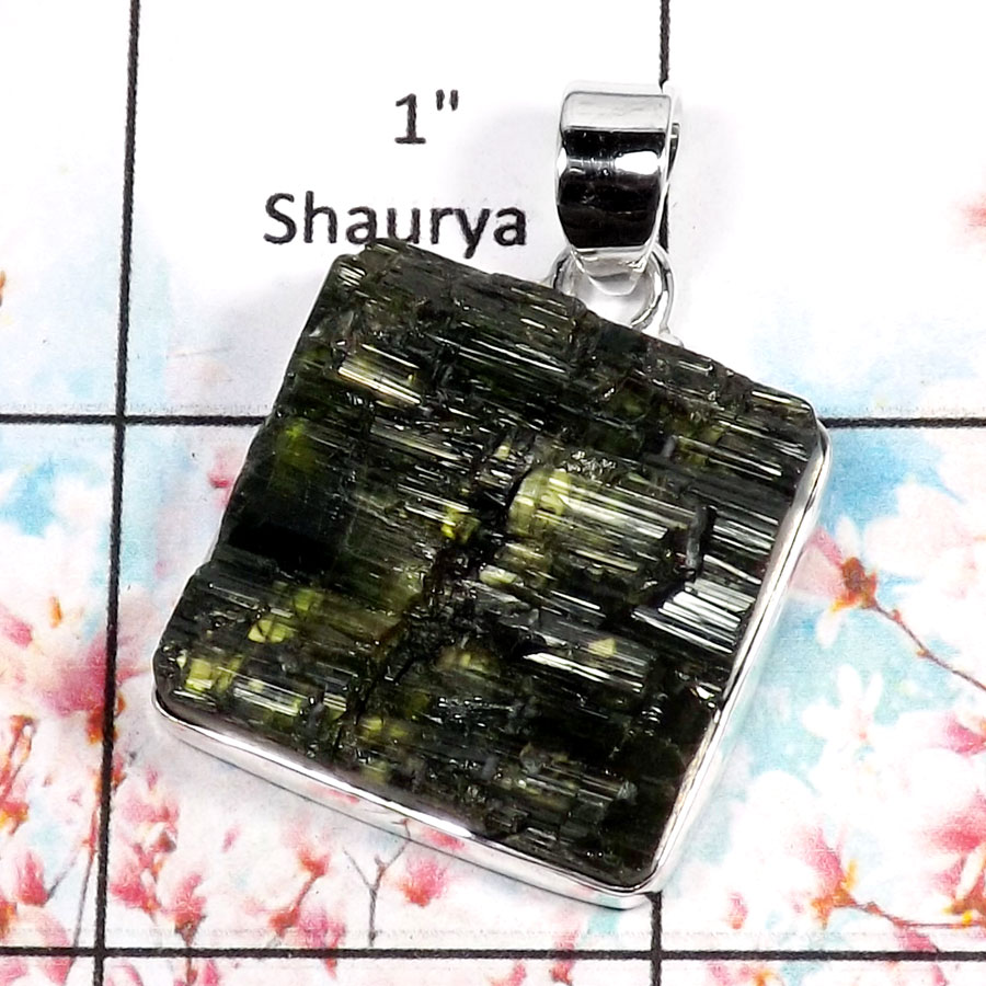 Green Tourmaline-Q RPP966-Classic Tourmaline Rough Plain Setting Pendant 925 Sterling Silver
