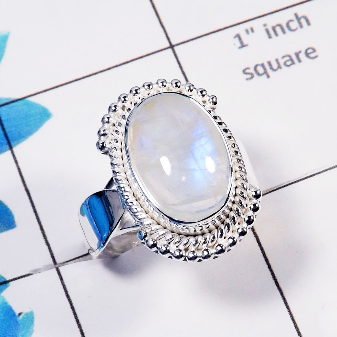Rainbow Moonstone Cab A - RSS786-Genuine Rainbow Moonstone Direct Factory Made 925 Sterling Silver Designer Ring