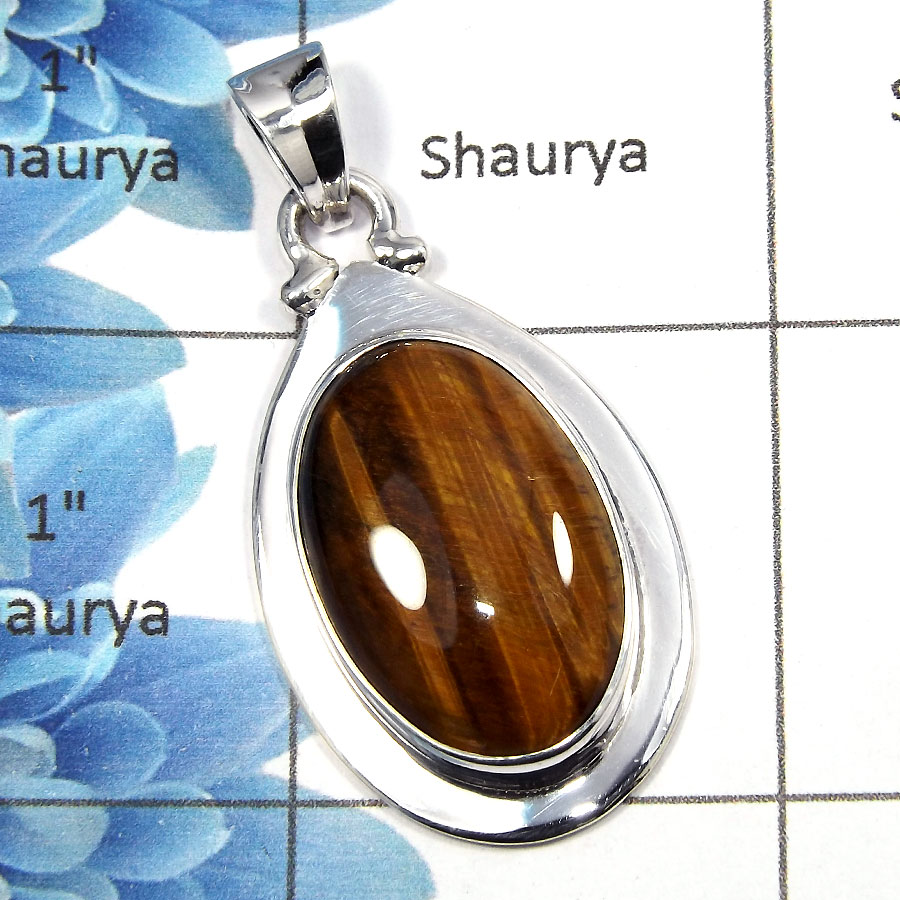 Tiger Eye Cab - SALE723 - Solid 92.5% Sterling Silver Natural Tiger Eye Gemstone Plain Setting Pendant