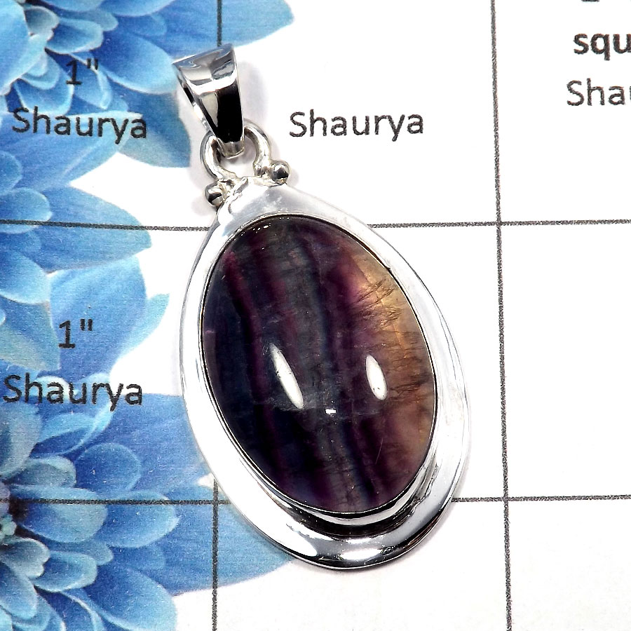 Fluorite Cab - SALE725 - Stunning Natural Fluorite Gemstone 925 Sterling Silver Plain Setting Pendant