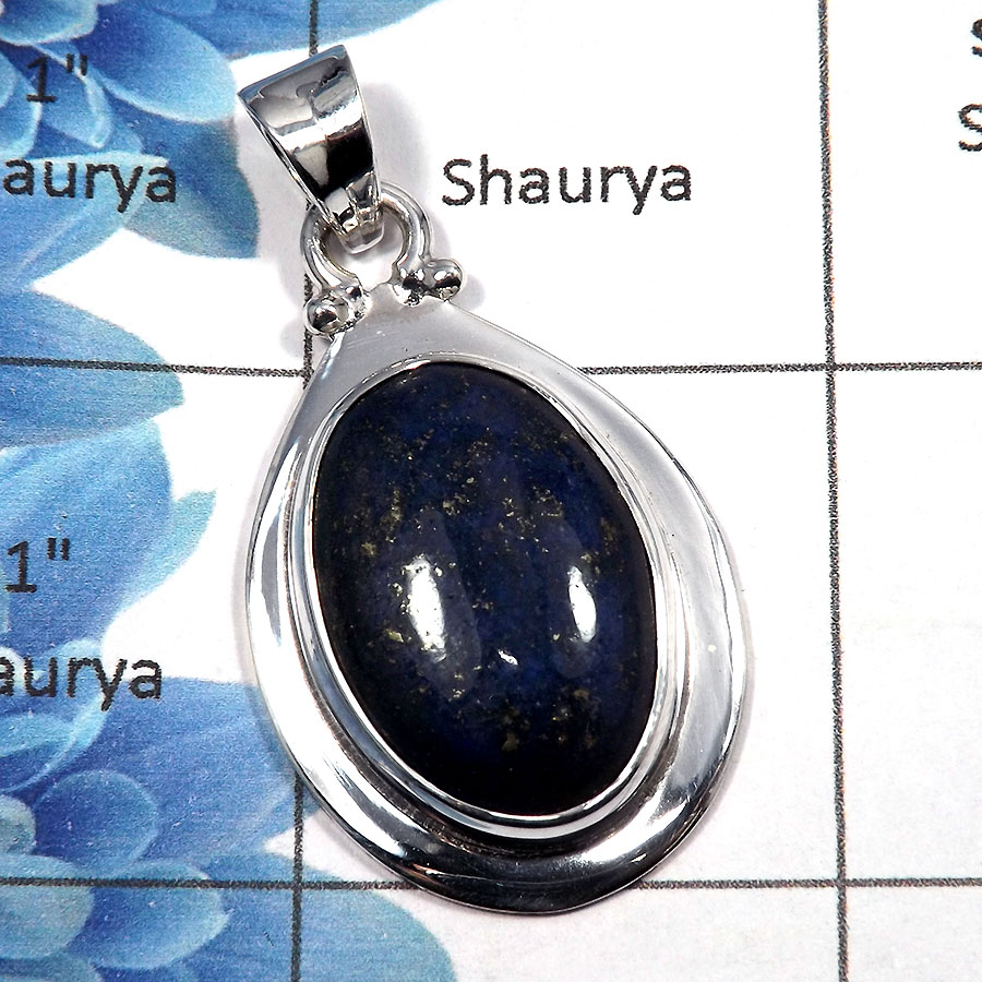 Lapis Cab - SALE727 - Indian Factory Made 925 Sterling Silver Natural Blue Lapis Gemstone Pendant
