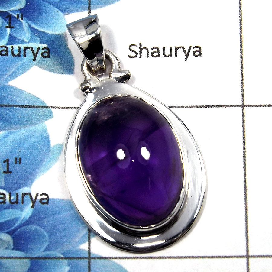 Amethyst Cab - SALE729 - Natural Purple Amethyst Cab Gemstone Solid 925 Sterling Silver Pendant