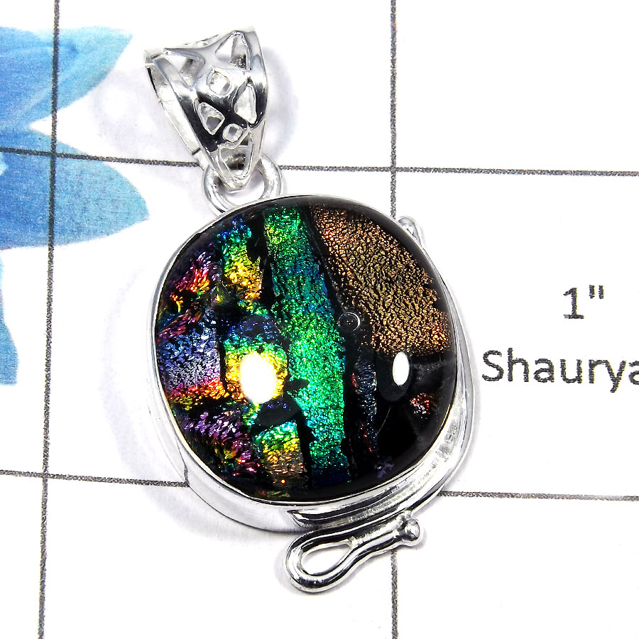 Dichroic Glass SALE731 - Party Look Natural Dichroic Glass Gemstone 925 Sterling Silver Designer Pendant