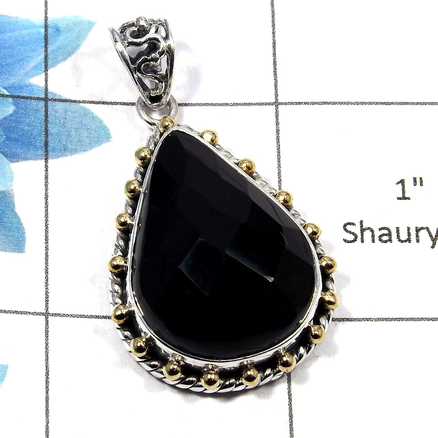 Black Onyx SALE734 - Natural Black Onyx Gemstone Solid 925 Sterling Silver Two Tone Designer Pendant