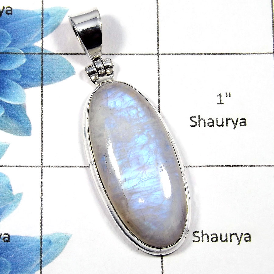Rainbow Moonstone SALE792 - Exclusive Solid 925 Sterling Silver Natural Rainbow Moonstone Plain Setting Pendant