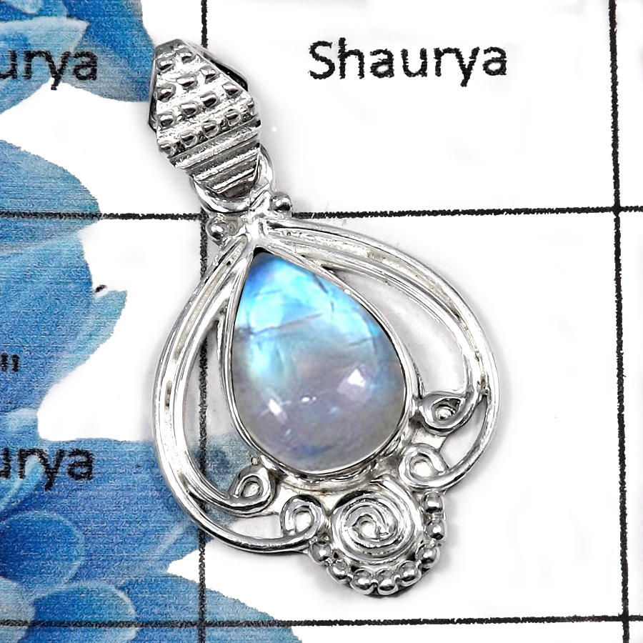 Rainbow Moonstone SALE895 - Beautiful Look Fire Moonstone Gemstone Designer 925 Sterling Silver Pendant for Girls