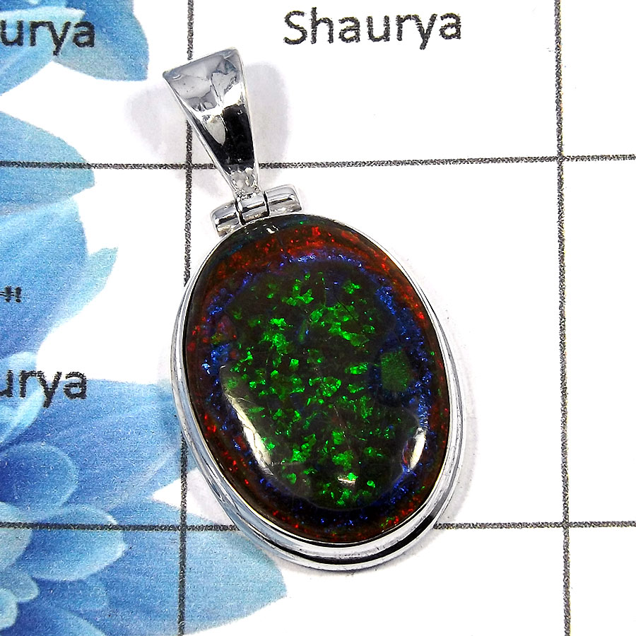 Sterling Opal - SALE918 - Solid 92.5% Sterling Silver Natural Sterling Opal Gemstone Plain Setting Pendant