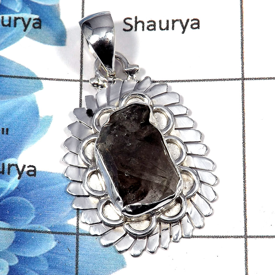 Herkimer Diamond - SALE929 - Solid 925 Sterling Silver Natural Herkimer Diamond Gemstone Designer Pendant