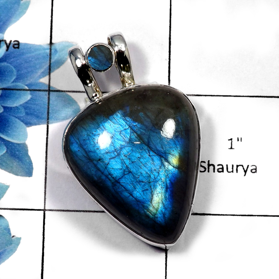 Labradorite Cab - SALE969 - Indian Factory Made 925 Sterling Silver Natural Fire  Gemstone Plain Setting Pendant