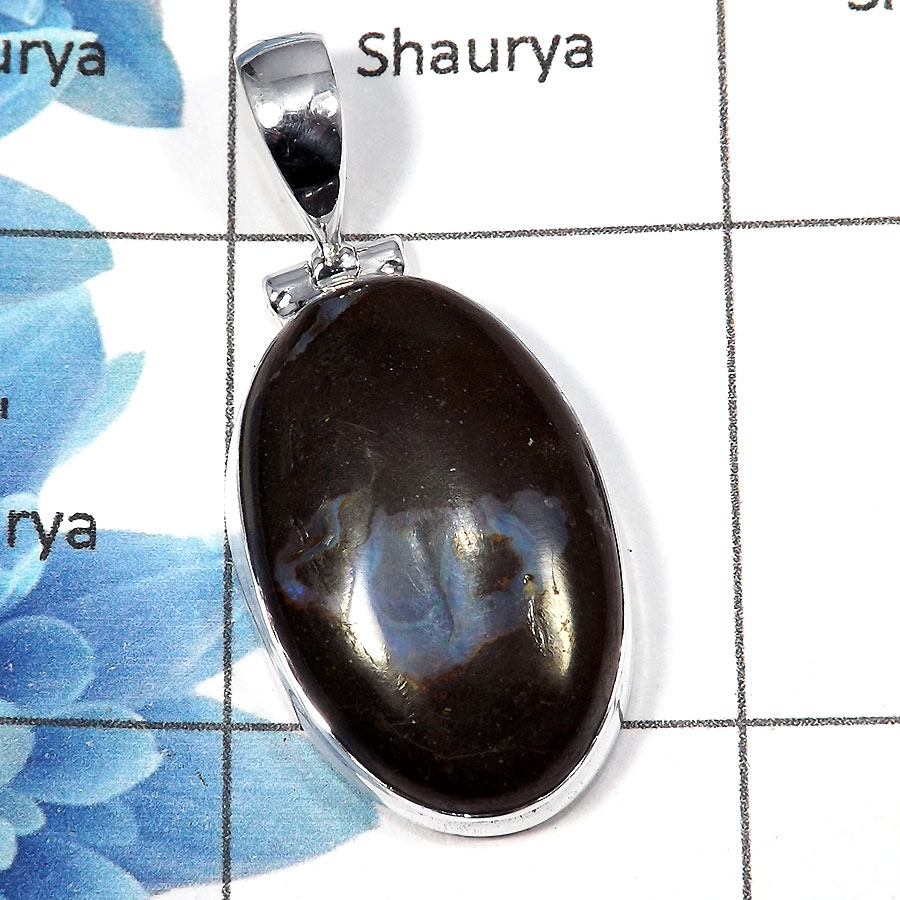Boulder Opal - SALE982 - Indian Factory Made 925 Sterling Silver Natural Boulder Opal Gemstone Plain Setting Pendant