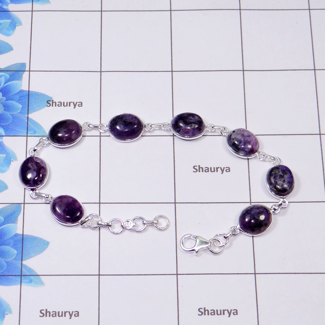 Charoite Bracelet F - SBB889-Natural Charoite Cab 925 Sterling Silver Classic Simple Bezel Set Wholesale Bracelet