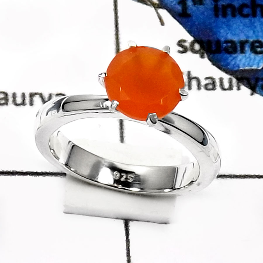 Carnelian Cut O - SCR772-Elegant Party Look Casting Rings 925 Sterling Silver