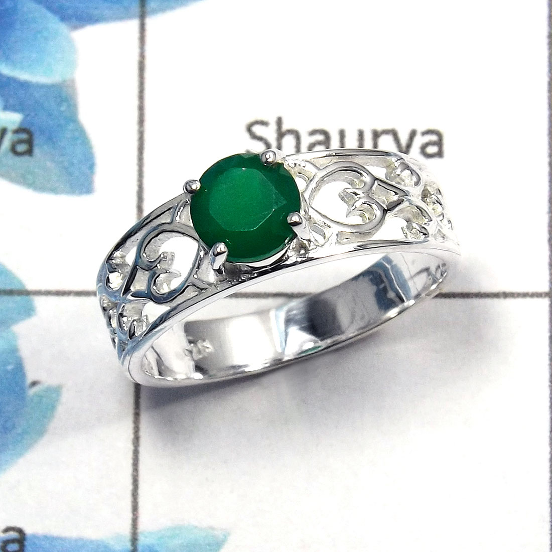 Green Onyx Cut G - SCR757 - Solid 92.5% Sterling Silver Natural Green Onyx Cut Gemstone Casting Ring