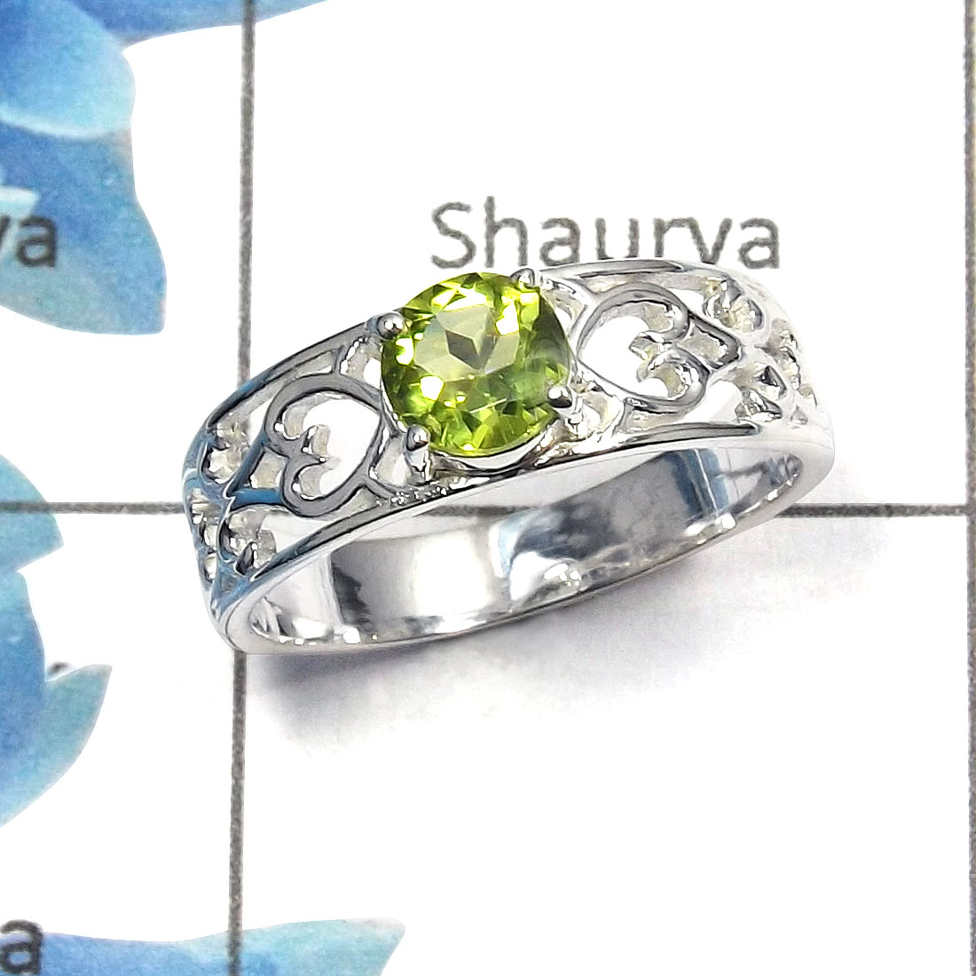 Peridot Cut O - SCR757 - Newly Arrival Natural Peridot Cut Gemstone Casting Ring 925 Sterling Silver