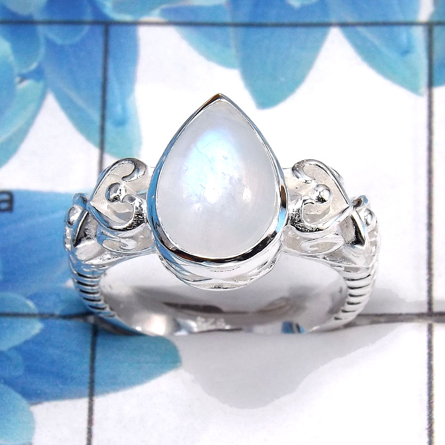 Rainbow Moonstone Cab A - SCR761 - Natural Rainbow Moonstone Gemstone Solid 925 Sterling Silver Casting Ring