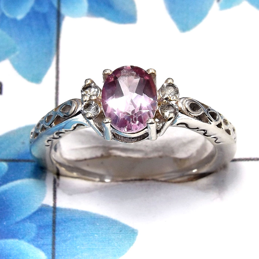 Pink Topaz Cut B - SCR762 - Gorgeous Natural Pink Topaz Cut Gemstone Solid 925 Sterling Silver Casting Ring
